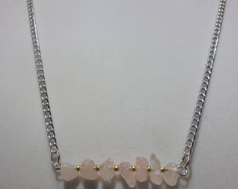 Rose Quartz Gemstone Bar Necklace | Rose Quartz Necklace | Gemstone Necklace