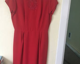 1950s/60s Red Puritan Forever Young Shift Dress Large