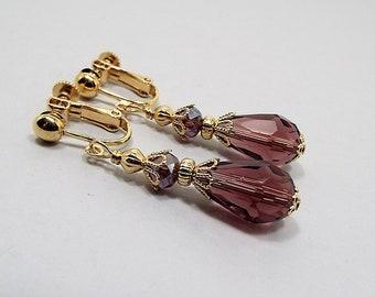 Purple Earrings, Wine Purple, Dark Purple, Gold Plated, Drop Earrings, Teardrop Earrings, Formal Jewelry,  Lever Back Hook