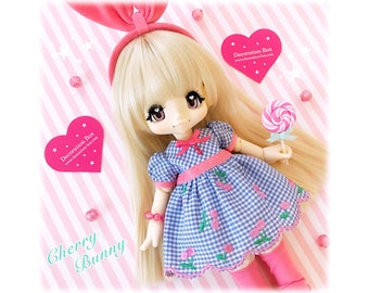 Blue Cherry Bunny Dress for KIKIPOP! Outfit by Decoration Box in JAPAN