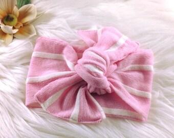 Striped Baby Headband, Baby Turban, Hair Accessory, Baby Photo Prop, Top Knot Headband, Baby Headwrap