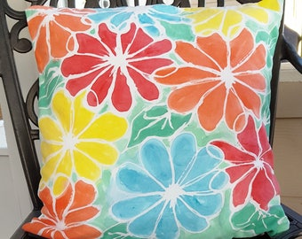 """Decorative Pillow Cover,  Great 16"""" Accent Pillow for Any Room, Combination of Greens, Blues, Yellows and Orange - Hand Dyed"""