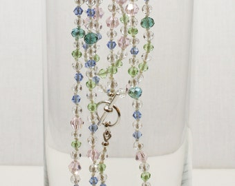 Pink, Aqua, Blue and Green Crystal Necklace and Earrings Set