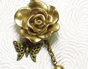 Asymmetrical Gold Rose Cabochon Beaded Necklace, Antiqued Brass Butterfly and Chain, Gold Czech Glass Beads