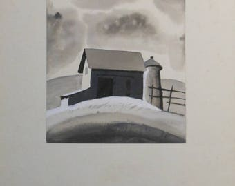 vintage water color of barn and silo landscape hill