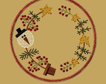 Maschine Stickerei-Schnee Weihnachtsbaum Kerze Matte-4-Zoll-FM-Instant Download