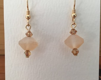 Champagne colored glass beaded earrings with Austrian crystal and gold filled wire