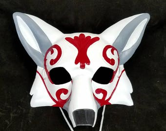 Ornate Leather Fox Mask Kabuki Style Kitsune Mask