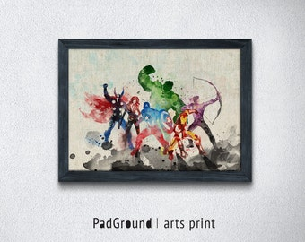 Avengers Poster, Superhero Art Print, Watercolor Art, Wall Decor, Home Decor, Illustration, Gifts, Kids Room, Linen Cloth Print Frame-SP62