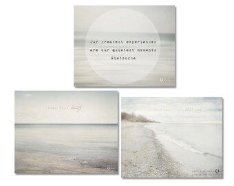 Neutral Wall Art, Beach House Decor, Inspirational Print Set Collection, Gallery Wall Art, Zen Decor, Print Set of Three, Minimalist Art