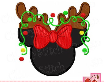 Christmas Reindeer Minnie Machine Embroidery Design CH0124 -for 4x4,5x7 and 6x10 hoop