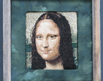 Mona Lisa, hand embroidered, original, in wooden frame, 11x11