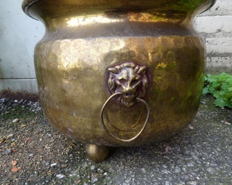 Old brass copper Pot Russian Mock Bb Jardiniere Tripod leg Lion head hardware Hammered metal Aged patina footed planter