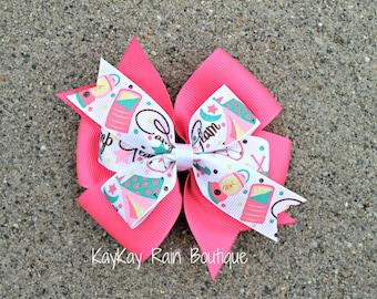 Camp Glam Hair Bow - Camping Hair Bow - 4 Inch Hair Bow - Girls Hair Bow - Toddler Hair Bow - Camp Glam - Girly Camping Hair Bow - Camping