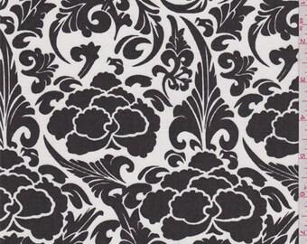 White/Black Baroque Stretch Twill, Fabric By The Yard