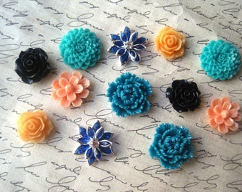 Locker Magnets, 12 pc Pretty Magnets, Teal, Navy, Peach, Orange, Strong Magnets, Small Gift, Hostess Gift, Refrigerator Fun, Kitchen Decor