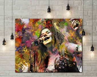 Joplin Art, Joplin Art Print, Hippie Art, 60s Music, Woodstock, Joplin, Hippie Prints, Hippie Canvas Art, Joplin, 60s Era