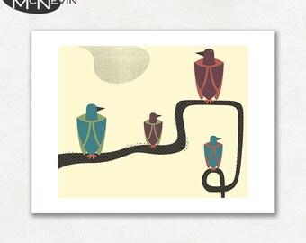 BIRDS (v2), Modern Mid Century Abstract, Giclee Fine Art Print for the Home Decor