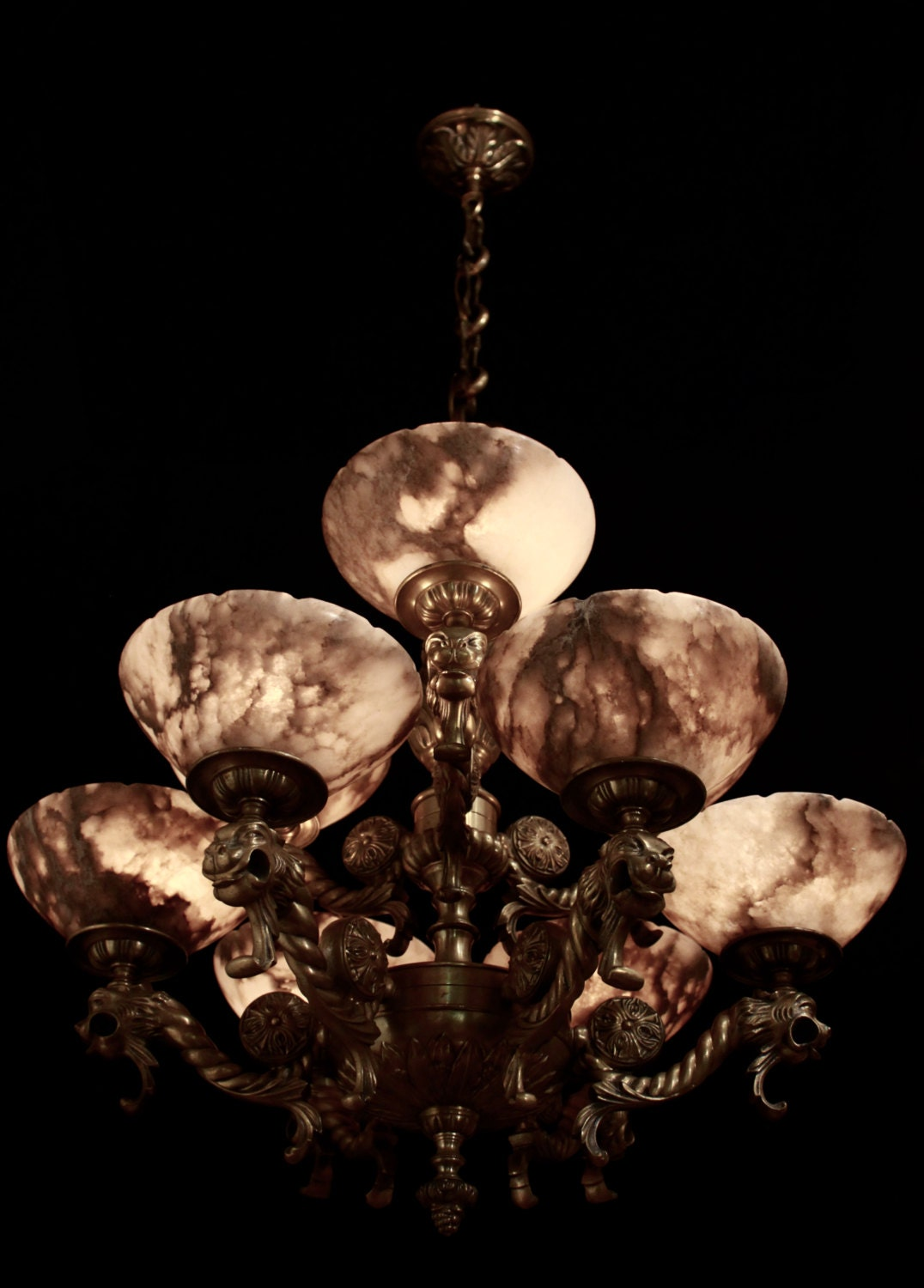 Two tier chandelier solid bronze real alabaster with lion head two tier chandelier solid bronze real alabaster with lion head sculptures from 1950 arubaitofo Image collections