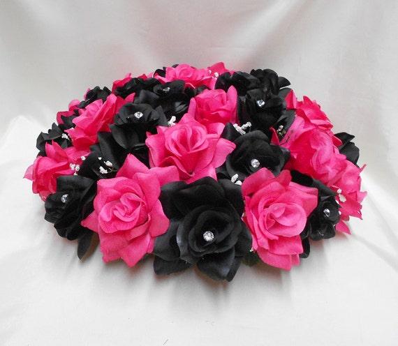 Black fuchsia hot pink roses wedding bridal silk flower alter mightylinksfo