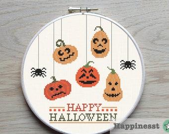 Halloween cross stitch pattern, pumpkin party, fall, autumn, PDF, DIY ** instant download**