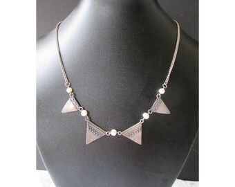 Art Deco Style Necklace * Triangle And Pearl * 925 Silver