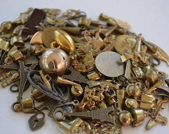 Assorted Random Lot 20 Brass Metal Vintage Miniature Jewelry Charms