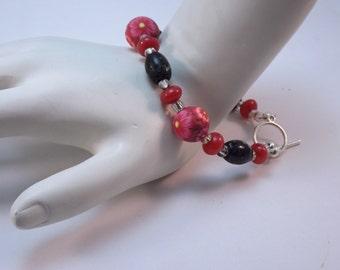 Handmade Red Millefiori Floral Bracelet, Handmade Polymer Clay