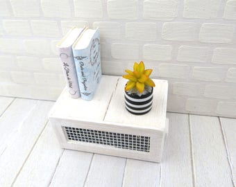 Yellow Echeveria agavoides in black and white striped vase for dollhouse in 1:12 scale