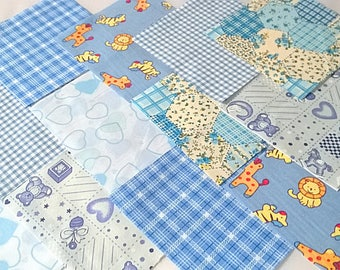 "40 x Baby Boy 5"" Fabric Patchwork Squares Pieces Charm Pack"