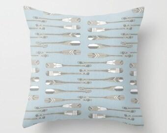Blue Pillow cover Beachy Pillow Cover Decorative Pillow Cover Cabin Pillow Oars Pillow Sailing Pillow Lakehouse Pillow