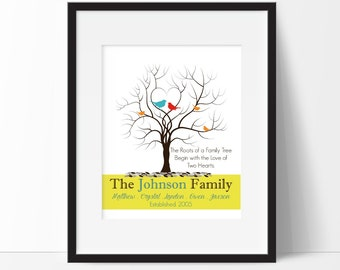 "Mothers Day Gift - Anniversary Gift - Grandparents Keepsake - ""Two Hearts""Family Tree Print - Gift For Mom - Personalized Christmas Gift"