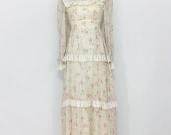 Vintage Gunne Sax Style Cream & Pink Rose Maxi Dress XS/S