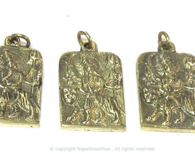 3 Pendants - Hindu Goddess Durga Maa and Om reversible Brass amulet pendant - CP114xs