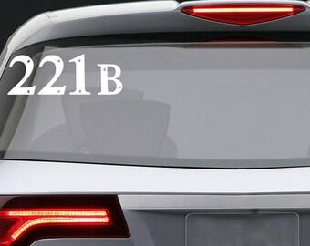 Sherlock 221b vinyl decal / Car window or bumper Laptop phone iPhone Wall Art Sticker Decals / Living room home decor removable baker street