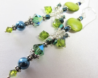 Teal and Green Chandelier Earrings with Pearls and rare Swarovski Tourmaline Crystals on all sterling silver