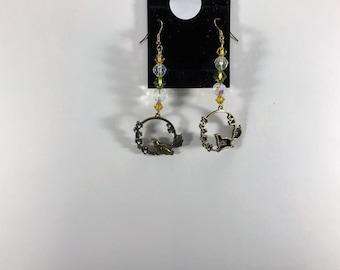 beaded jewelry,bird earring,nature,bird,earrings,french hook,flowers,bird flowers,bird charms,bird charm,gold charm,gold charms