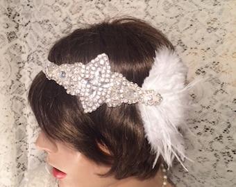 Flapper headpiece 1920's headband Flapper headband 1920's headpiece rhinestone headband bridal accessories GATSBY headband  bridal accessory