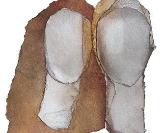 Together - Couple Portrait, Giclee Print of Original Abstract Art, Love Painting
