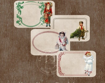 Vintage Christmas Journal Tags  Digital Download