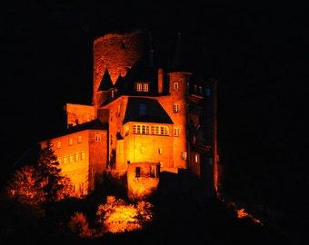 Halloween Castle Spooky Haunted Orange Black - Castle Katz 2