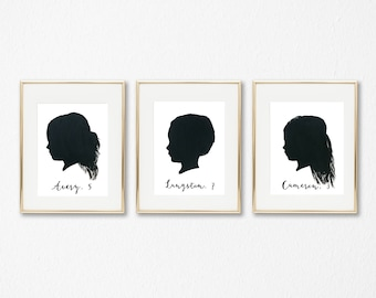 Set of 3 Painted Custom Silhouette Portrait of Children, Painting, Kids Room Nursery, Personalized Gift, Original Artwork, Customized Gift