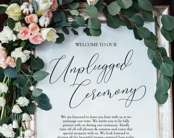 Unplugged Ceremony Sign - Modern Wedding Sign - 3 sizes - 8x10, 11x14, 16x20 - Instant Download - Editable PDF - Wedding Printable - #GD3904
