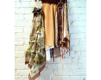 Boho skirt asymmetrical hippie skirt altered couture repurposed clothing eco friendly festival clothing  gypsy skirt