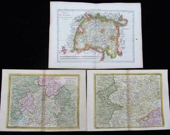 3 Original Antique hand-tinted, historical maps, 18. Century, Hesse, Swabia, Bavaria, Germany