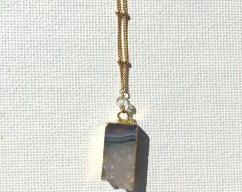 Amethyst & Aquamarine Gold Necklace