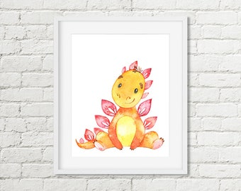 Dinosaur Room Decor, Dinosaur Nursery Printable Wall Art, Orange Stegosaurus Watercolor Boys or Girls Kids Dinosaur Art Digital Download