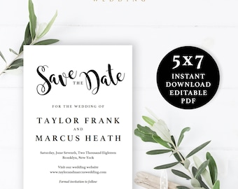 Save the Date Template, 5x7, Instant Download Printable, Editable PDF, EWSD006