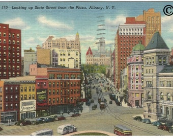 Looking Up State Street From The Plaza, Albany, New York Street Scene Vintage Postcard Vintage Linen Postcard