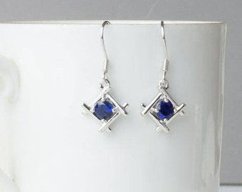 Sterling Silver Sapphire Blue Earrings, 925 Silver Earrings, September Birthstone Stud Earrings, Sapphire (Lab Created) Earrings, UK Seller,